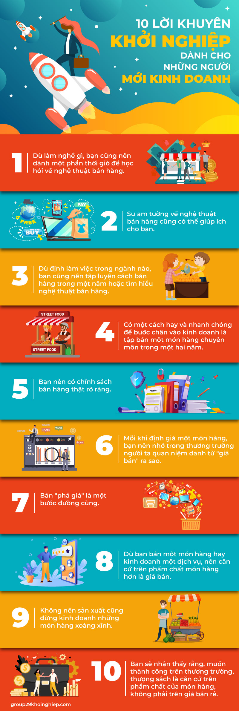 [Infographic] 10 lời khuyên khởi nghiệp dành cho những người mới kinh doanh